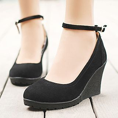 Sidewalk - Ankle Strap Platform Wedge Pumps