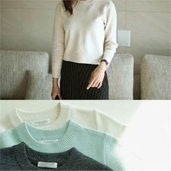 YOOM - Wool Blend Round-Neck Cropped Knit Top