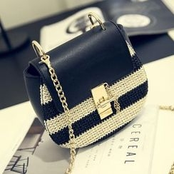 Secret Garden - Color-Block Woven Chain Cross Bag