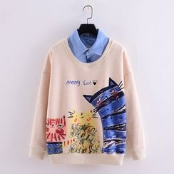 Tulander - Cat Print Mock Two-Piece Sweatshirt