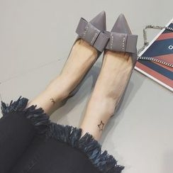 Crystella - Bow Pointed Patent Pumps