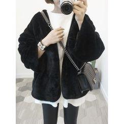 STYLEBYYAM - Collarless Faux-Fur Jacket