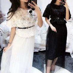ZAPPA - Set: Rosette Short-Sleeve Top + Mesh Midi Skirt + Belt
