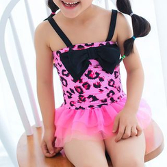 BOIE - Kids Bow Accent Leopard Swimdress