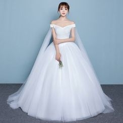 Luxury Style - Sequined Off Shoulder Wedding Gown With Train