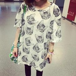 YUKISHU - Oversized Short Sleeved Cat Print Distressed T-shirt