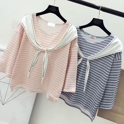 DIYI - Mock-Two Striped 3/4-Sleeve T-Shirt