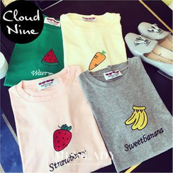 Cloud Nine - Fruit Embroidered Lettering Short-Sleeve T-Shirt