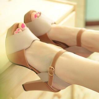 77Queen - Panel Platform Heel Sandals