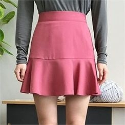 QNIGIRLS - Band-Waist Ruffle-Hem Mini Skirt