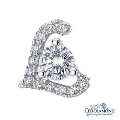 Leo Diamond - 'Love Is' Collection - 18K White Gold Diamond L-Shaped Single Stud Earring