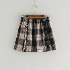 Storyland - Frilled Plaid A-Line Skirt