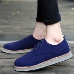 Komm - Lace-Up Wingtip Faux Suede Shoes