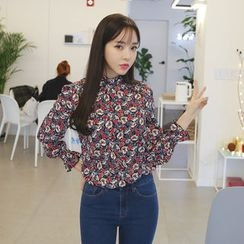 Envy Look - Mandarin-Collar Floral Blouse