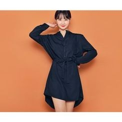 HOTPING - Mandarin-Collar Shirtdress With Sash