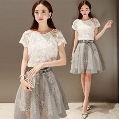 Ashlee - 套裝: 短袖蕾絲上衣 + 歐根紗裙