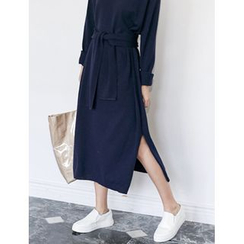 FROMBEGINNING - Wool Blend Long Knit Dress with Sash