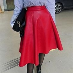 LIPHOP - Faux-Leather A-Line Skirt