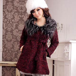 JK2 - Faux-Fur Collar Tweed Coat