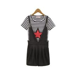 GRACI - Set : Star Stripe Short-Sleeve T-shirt + Pinafore Playsuit