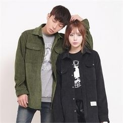 Superstar.i - Couple Dual-Pocket Corduroy Shirts