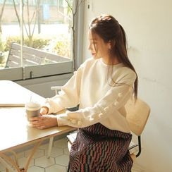 Cherryville - Pompom-Sleeve Fleece-Lined Sweatshirt