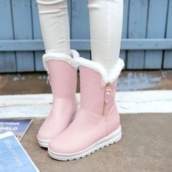 Pastel Pairs - Furry Trim Hidden Wedge Boots