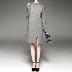 Alaroo - 綴飾長袖開衩連衣裙