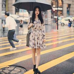 Angel Shine - V领碎花雪纺连衣裙