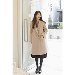 CHERRYKOKO - Notched-Lapel Double-Breasted Coat