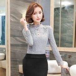 lilygirl - 蕾絲長袖襯衫