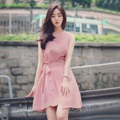 Angel Shine - Sleeveless Tie-Sash Dress