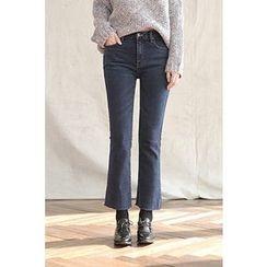 CHERRYKOKO - Fray-Hem Semi Boot-Cut Jeans