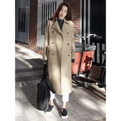 maybe-baby - Double-Breasted Flap-Front Trench Coat With Belt
