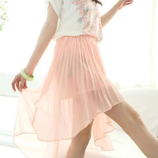 Tokyo Fashion - Dip-Back Pleated Chiffon Skirt