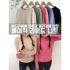 hellopeco - Round-Neck Knit Top