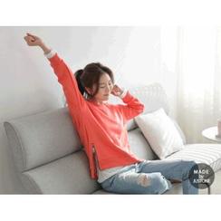 JUSTONE - Zip-Side Brushed-Fleece Lined Sweatshirt
