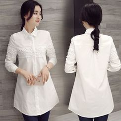 Rosemax - Lace Panel Long Loose-Fit Long Sleeve Shirt