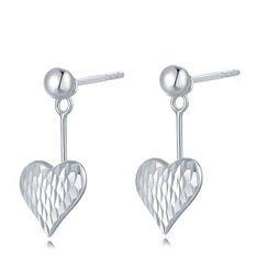 MaBelle - 14K White Gold Diamond Cut Dangling Heart Earrings