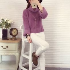 Romantica - Turtleneck Nubby-Knit Top