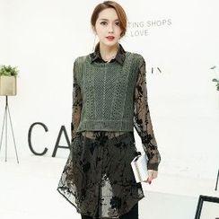 Romantica - Set: Sheer Long Shirt + Knit Vest