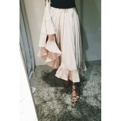 ATTYSTORY - Frill-Hed Shirred Midi Skirt