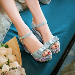 Pastel Pairs - Floral Print Wedged Sandals