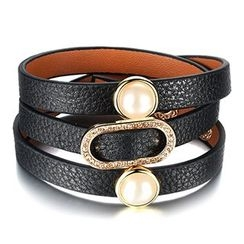 Creole - Faux-Pearl Rhinestone Genuine Leather Bracelet