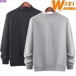 WIZIKOREA - Mock-Neck Colored Sweatshirt