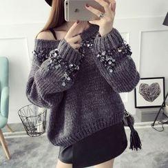 Qimi - 亮片厚毛衣