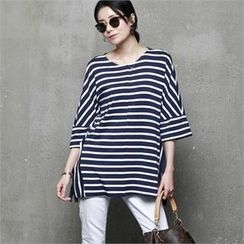 HALUMAYBE - Drop-Shoulder Striped T-Shirt
