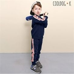 WALTON kids - Kids Set: Raglan-Sleeve Lettering Top + Band-Waist Pants