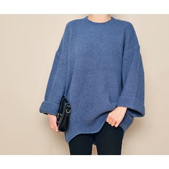 HOTPING - Round-Neck Scallop-Detail Knit Top