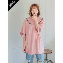 LOLOten - Pattern-Trim Long Cotton T-Shirt